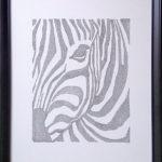 calligram, words, letters, framed, ink, black, passepartout, zebra